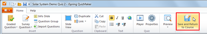 Quiz editor toolbar