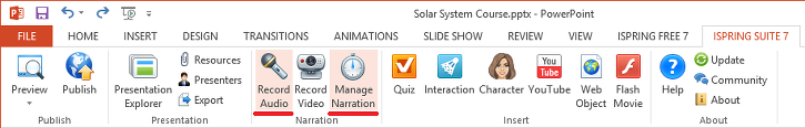 powerpoint ribbon with manage narration controls
