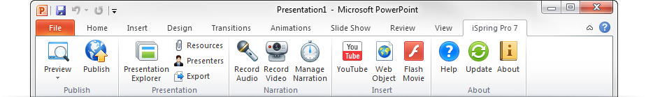Picture 2. iSpring Pro adds a tab to the PowerPoint ribbon
