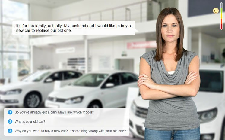 Interactive demo Car Sale Dialogue made with iSpring TalkMaster