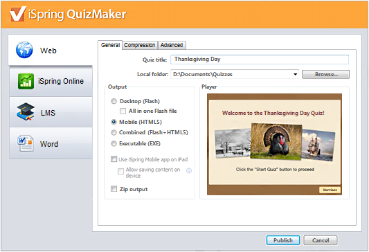 Picture 20: Quiz Maker's publishing options