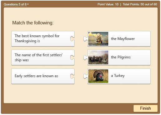 Matching question example powered by iSpring QuizMaker