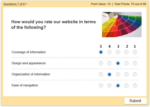 Survey created with iSpring quiz maker software