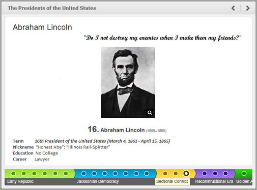 Interactive timeline powered by iSpring e-Learning development tool