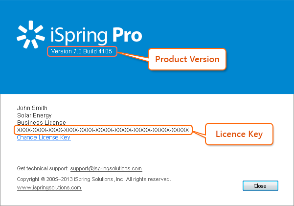 Check version and license of iSpring Pro