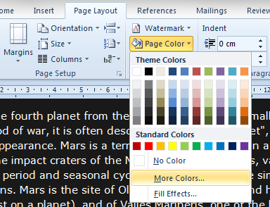 Select a page color