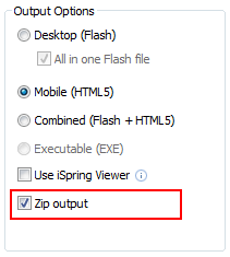 ZIP Output option in iSpring Publish