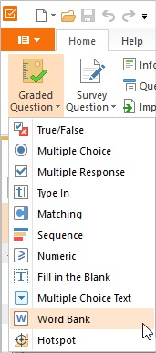 Choosing a question type in iSpring QuizMaker