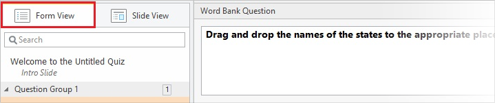 Word Bank question in the Form View mode