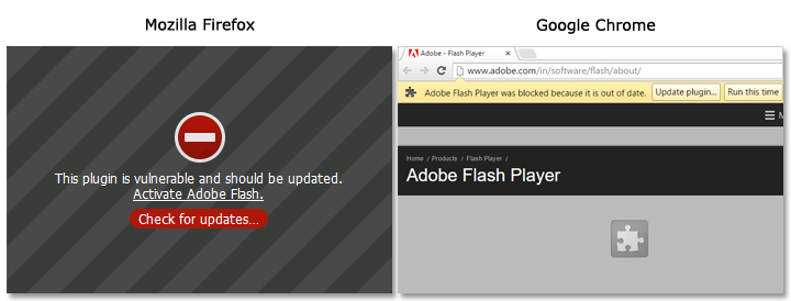 Vulnerabile Flash plugin messages in Firefox and Chrome