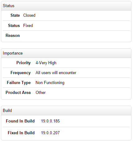 Bug log on Adobe showing the status Fixed