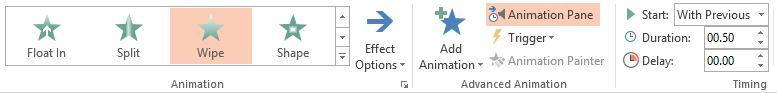 Animation effects for timeline in PowerPoint 2013.