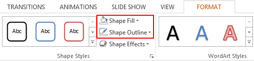 Format tab in PPT > Shape Fill and Shape Outline.