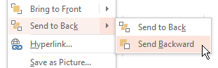 Right-click on an object in PowerPoint > Send to Back > Send Backward