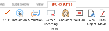 An iSpring toolbar on the PowerPoint ribbon