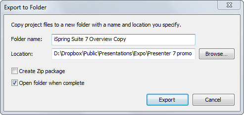 iSpring project Export to Folder window