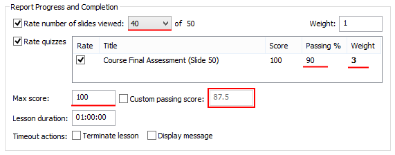 Rate number of slides viewed 40 of 50 Rate quiz, passing score 90%, weight 3.