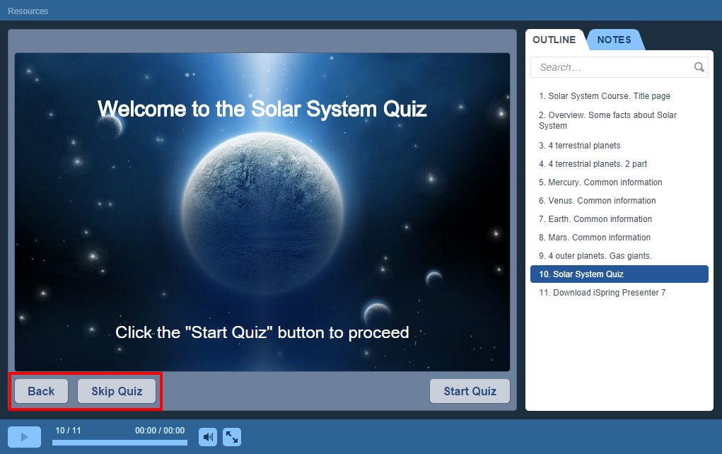Skip and Back buttons on the quiz in an iSpring learning course