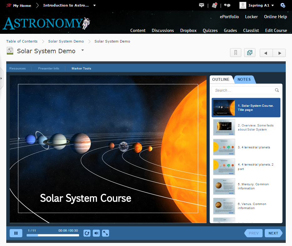Course preview in Brightspace LMS
