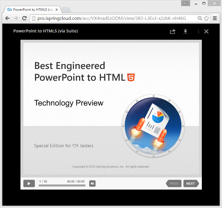 Chrome window PPT preview
