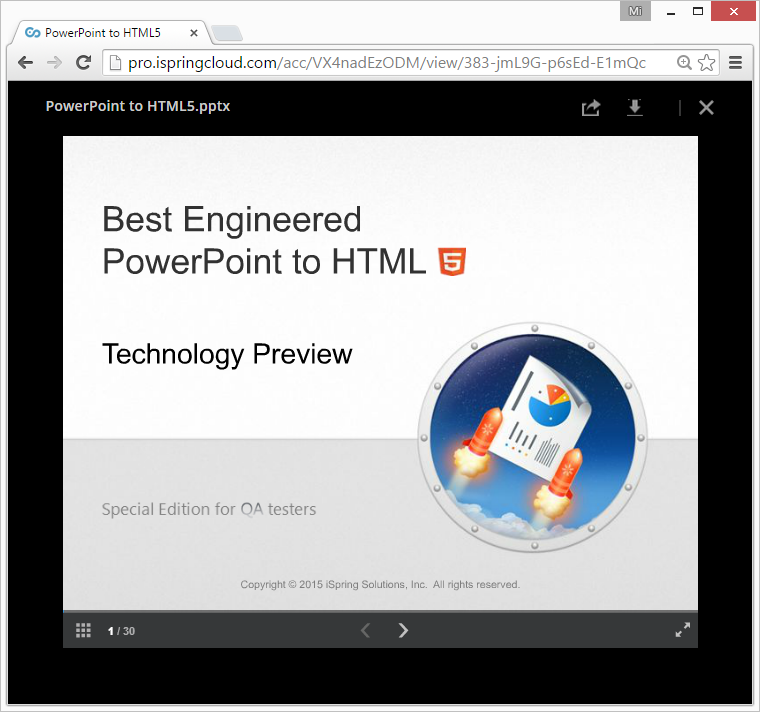 Chrome window presentation preview