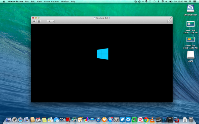 Windows OS launched in VMware Fusion