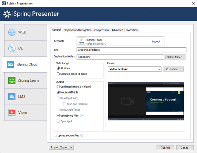 Publishing Video Lecture to Cloud
