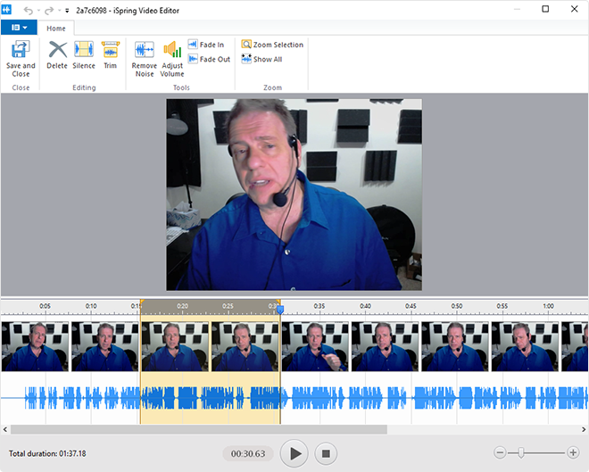 Editing options of the built-in iSpring video editor