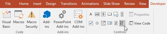 The More Controls icon on the PowerPoint 2016 toolbar
