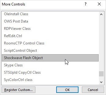 Inserting a Shockwave Flash Object into PowerPoint 2016