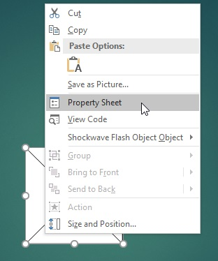 Choosing Property Sheet for a Flash movie in PowerPoint