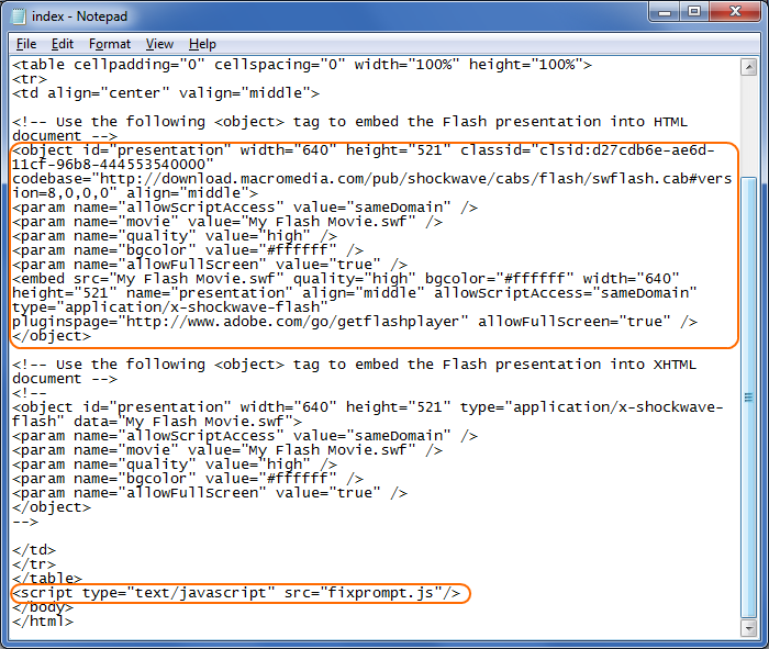 Sample of Flash in HTML code