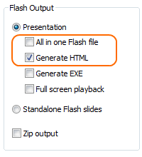 Add Flash into HTMl:Publishing into a set of Flash files