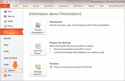 Click File and select Option in PowerPoint
