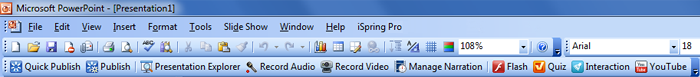 iSpring toolbar in PowerPoint 2003/XP/2007