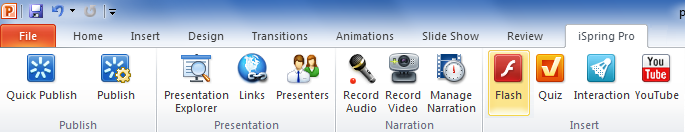 iSpring PowerPoint add-in for PowerPoint 2010 and 2007