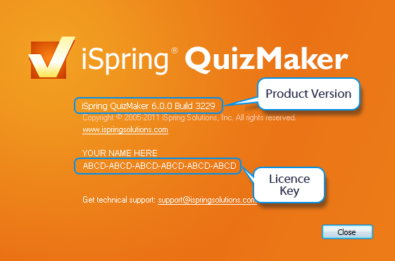 Check QuizMaker version and license