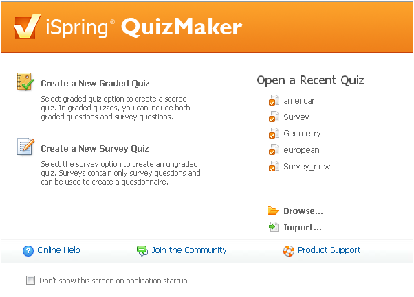 Create Flash survey with iSpring QuizMaker