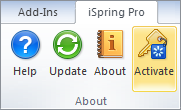 iSpring Presenter e-learning tool toolbar