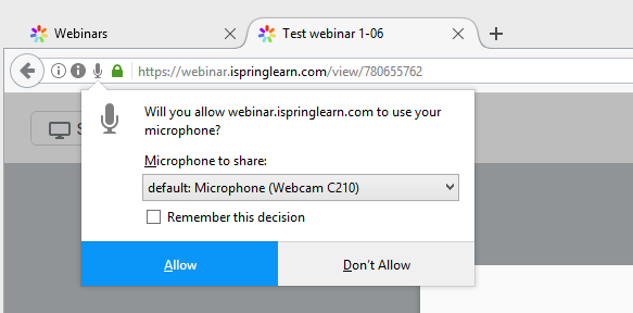 Allow to use mic in firefox