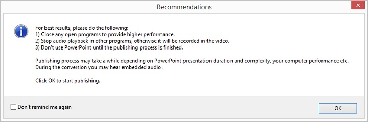 Picture 8: Recommendations for converting PowerPoint to video