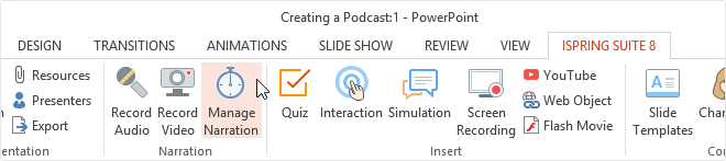 Where to find the Manage Narration icon