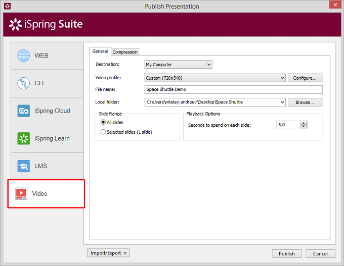 Suite PowerPoint publishing interface
