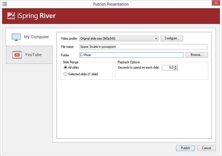 River PowerPoint publishing interface