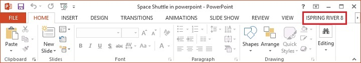 River tab on PowerPoint ribbon
