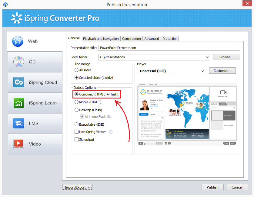 Convert PowerPoint to HTML5 & Flash dual mode