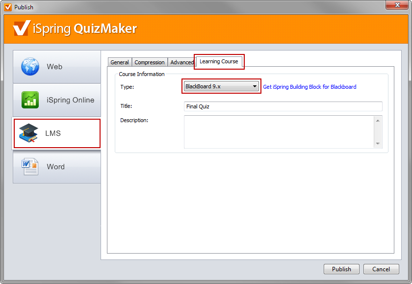 Publish quiz to BlackBoard