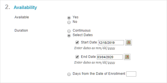 Specify the course duration in Blackboard