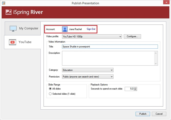 Picture 6: YouTube account in PowerPoint