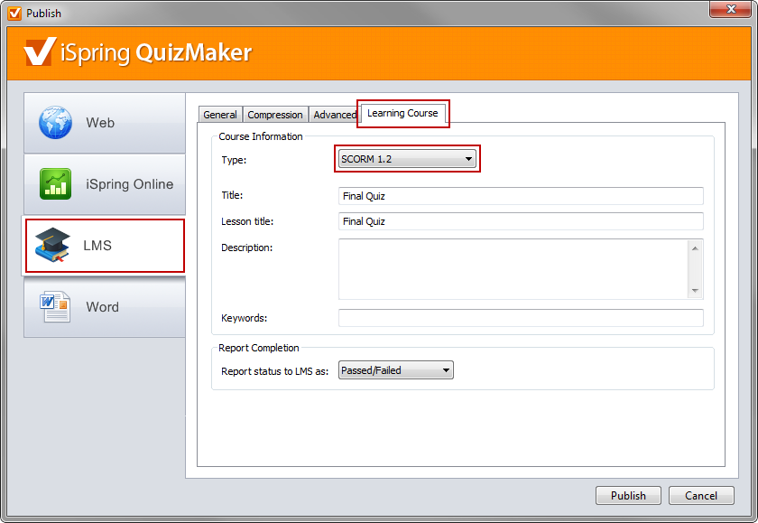 Publish quiz to OLAT LMS